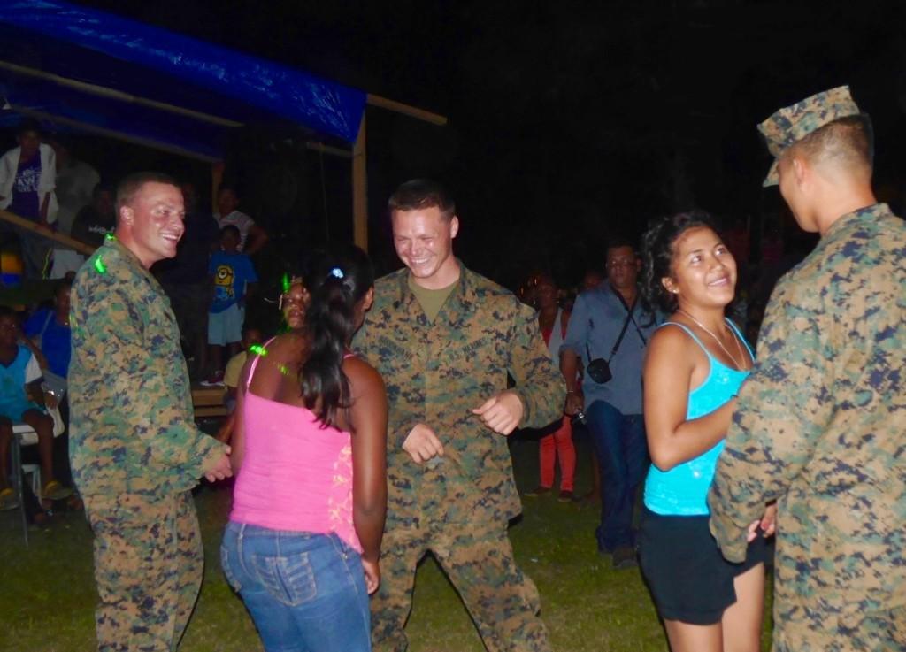 Marines learning Miskitu dance moves
